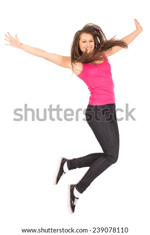 Happy Teenage Girl In Jump Pose Isolated On White - stock photo