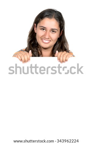 Happy teenager girl with a white board isolated in white - stock photo