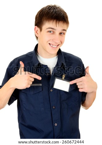 Happy Teenager with Blank Badge on the Shirt on the White Background