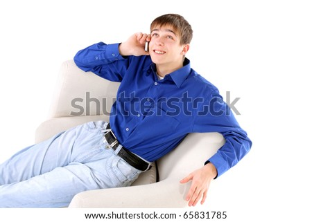happy teenager with mobile phone - stock photo