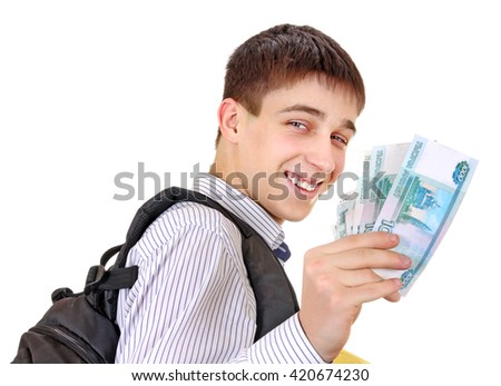 Happy Teenager with Russian Currency Isolated on the White Background