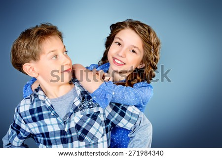 Happy teenagers posing together. Active generation.  Education. Studio shot.  - stock photo