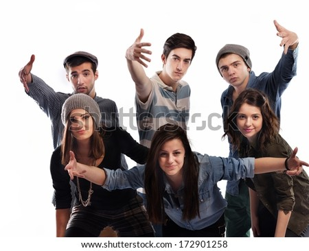 happy teens people group isolated on white background