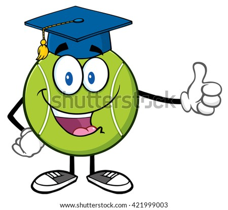 Happy Tennis Ball Cartoon Mascot Character With Graduate Cap Giving A Thumb Up. Raster Illustration Isolated On White