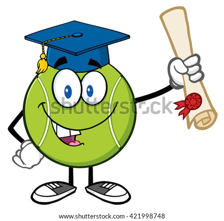 Happy Tennis Ball Cartoon Mascot Character With Graduate Cap Holding A Diploma. Raster Illustration Isolated On White - stock photo