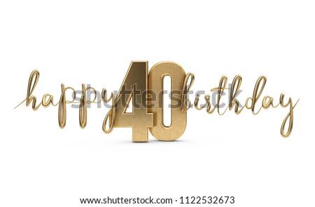 Happy 40th Birthday Gold Greeting Background Stock Illustration