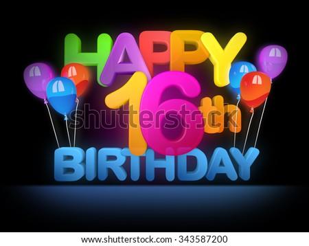 Happy 16th Birthday Title dark - stock photo