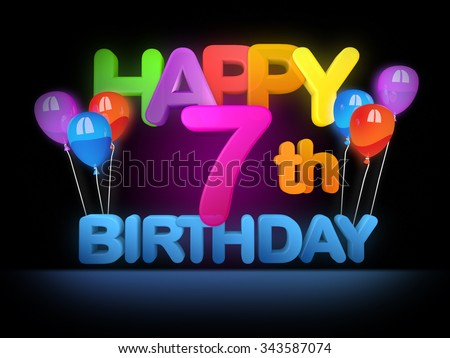 Happy 7th birthday Title in big letters - stock photo