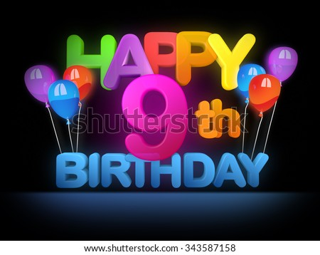Happy 9th birthday Title in big letters - stock photo