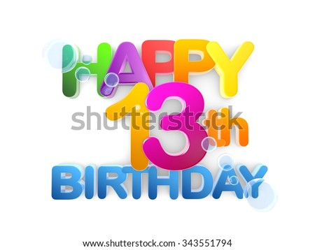 Happy 13th Birthday Title in big letters light - stock photo