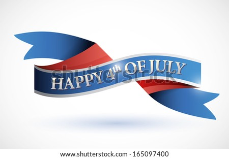 happy 4th of july banner. illustration design over white - stock photo