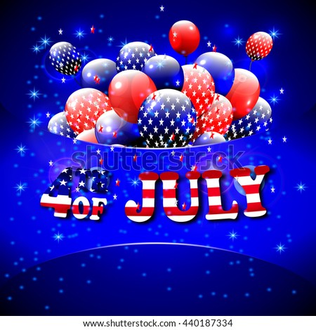Happy 4th of July design. Blue background, balloons with stars, striped text. American independence day greetings. For invintation, party, bbq. .
