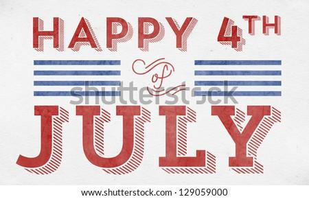 Happy 4th of July - Typographic Element - stock photo