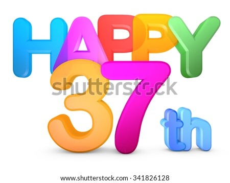 Happy 37th Title in big letters - stock photo