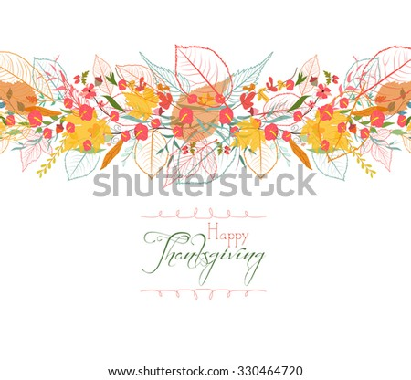 Happy Thanksgiving. Autumn background with leaves - stock photo