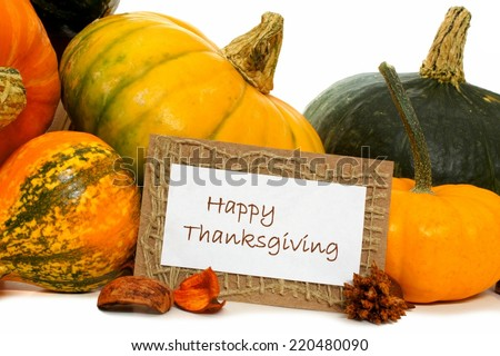 Happy Thanksgiving card with a group of autumn vegetables - stock photo