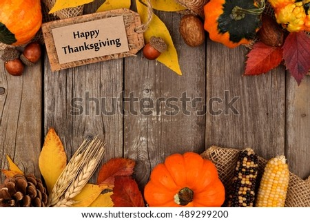 Happy Thanksgiving Gift Tag With Double Border Of Colorful Leaves And Pumpkins Over A Rustic Wood