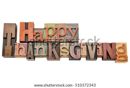 Happy Thanksgiving Isolated Word Abstract Vintage Stock Photo