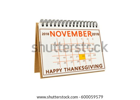 happy thanksgiving november 2018 calendar isolated on white background
