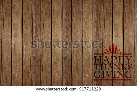 Happy thanksgiving sign over a wood background
