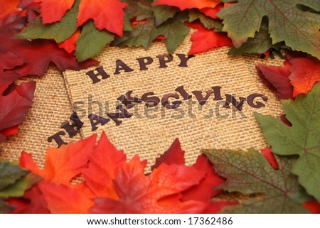 happy thanksgiving surrounded by orange and green autumn leafs - stock photo