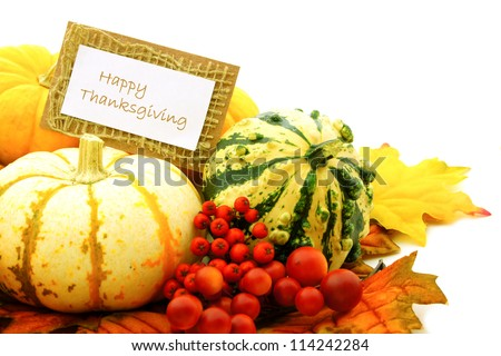 Happy Thanksgiving tag among a group of pumpkins, gourds and autumn leaves - stock photo