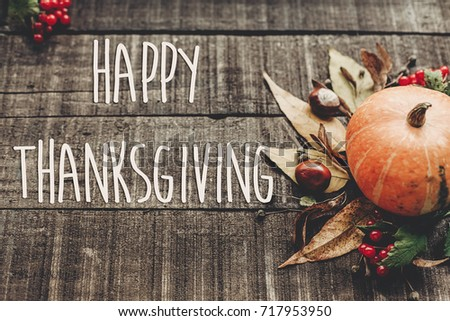 Happy Thanksgiving Text Sign Greeting Card Fall Image Beautiful Pumpkin And Leaves