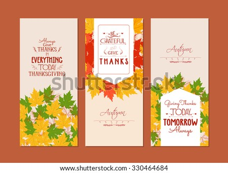 Happy Thanksgiving.Three autumn banners with colorful leaves - stock photo
