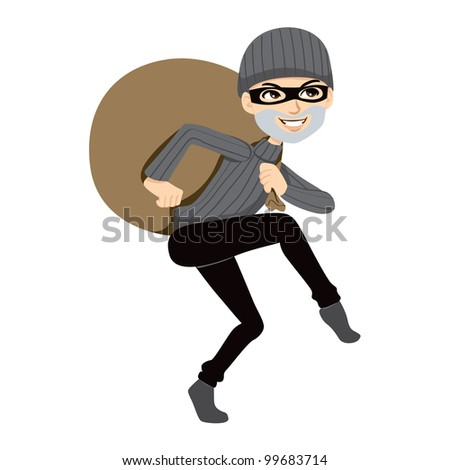Happy thief sneaking carrying a huge bag of stolen property - stock photo