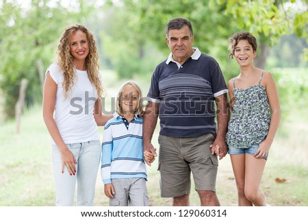 Happy Three Generations Family Outdoor