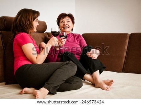 Happy time - mother with daughter - stock photo