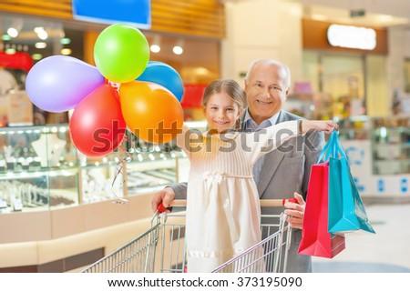 Happy time with grandchild. - stock photo