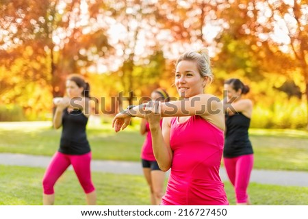 happy to go for a run with friends - stock photo