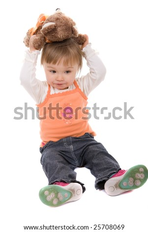 happy toddler baby girl isolated