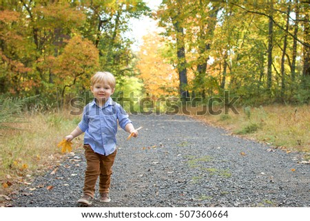 Happy Toddler Boy playing with leaves and walking in the woods