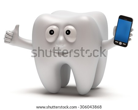 Happy tooth with smartphone. Dental concept. 3D render isolated on white. - stock photo