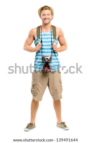 Happy tourist holding passport retro camera isolated on white - stock photo