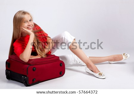 Happy tourist woman . Over white background. - stock photo