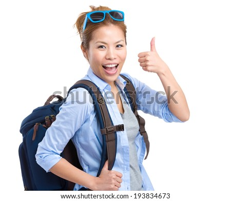 Happy tourist woman with thumb up