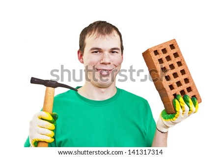 happy tradesman holding a brick and trowel isolated on white background - stock photo