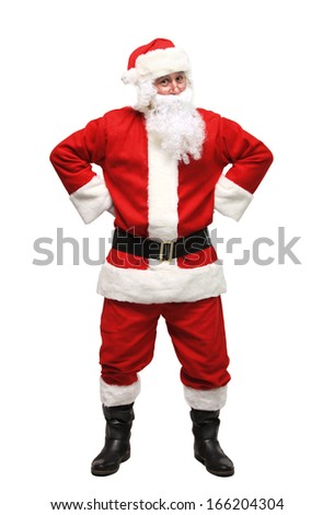 Happy traditional Santa Claus. Christmas. Isolated on white background.  - stock photo