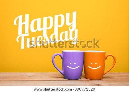 Happy tuesday Coffee Cup Concept isolated on yellow background - stock photo