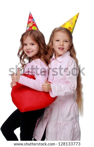 Happy two friends with red heart on white background