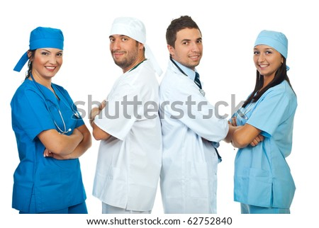 Happy two teams of different doctors isolated on white background - stock photo
