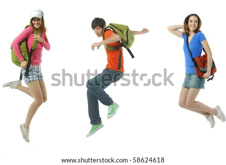 Happy two young woman and boy jumping