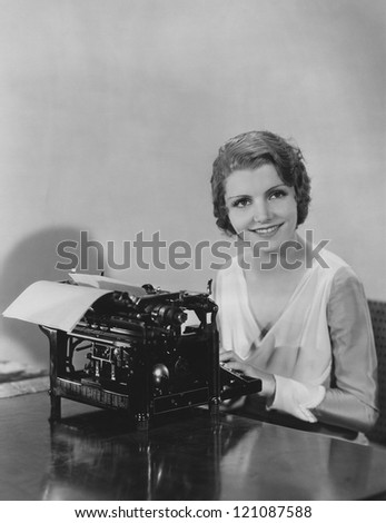 Happy typist - stock photo