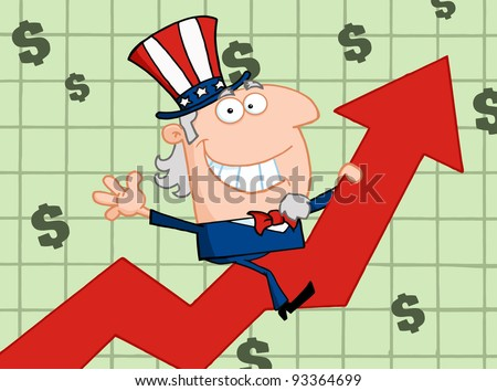 Happy Uncle Sam Riding Up On A Statistics Arrow - stock photo