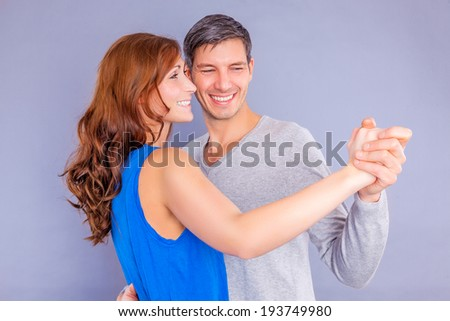 happy valentine dancing couple isolated
