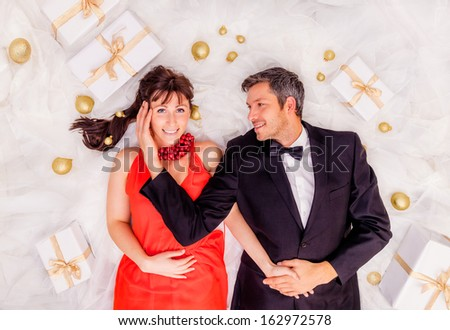 happy valentine lovers full with online presents - stock photo