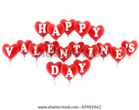 happy valentine's balloons - stock photo